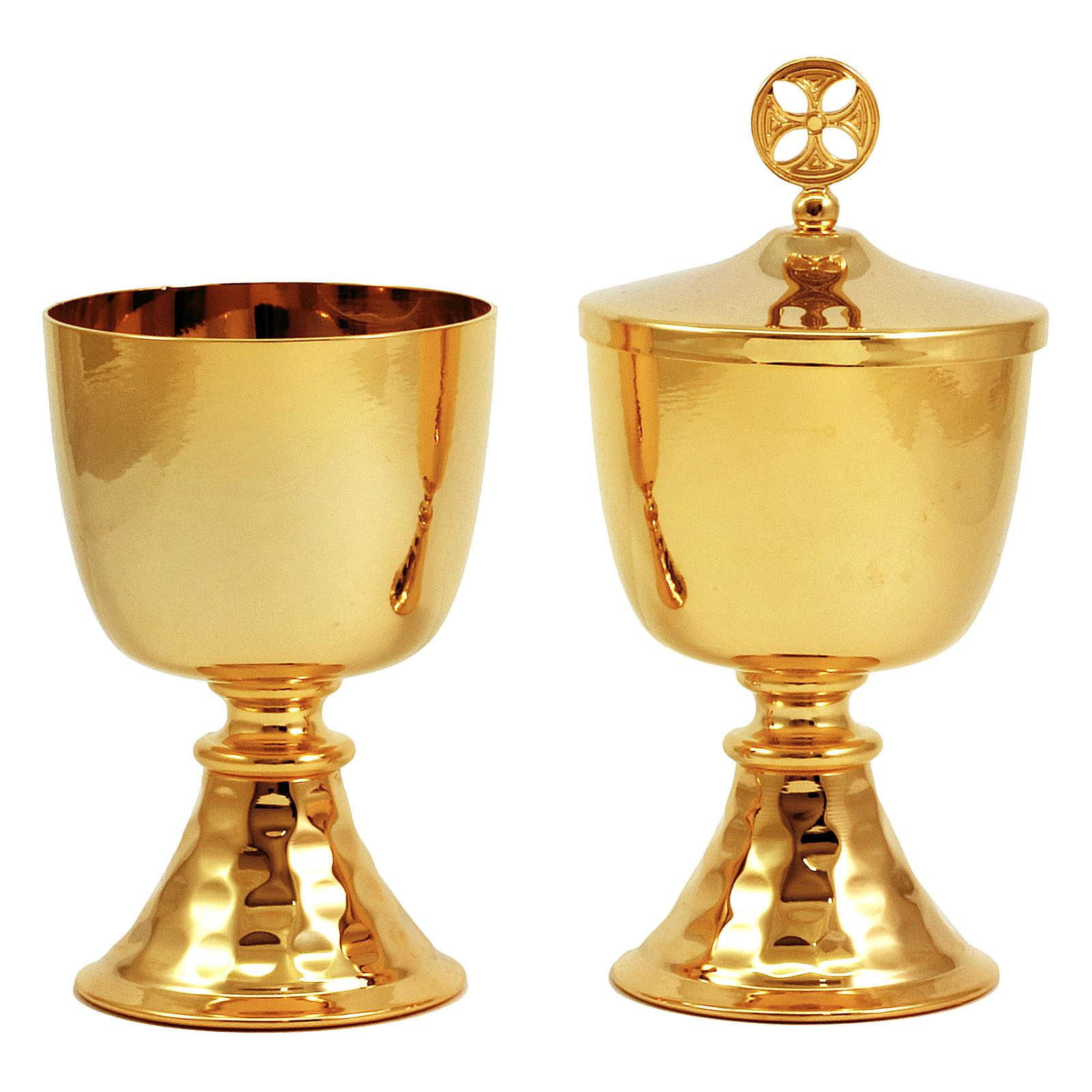 Calicino e Pisside da viaggio in ottone dorato base martellata 4