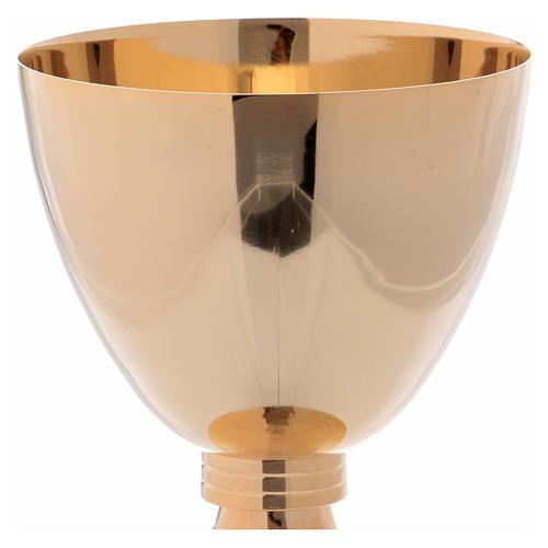 Calice e patena decoro martellato ottone dorato 16 cm 2