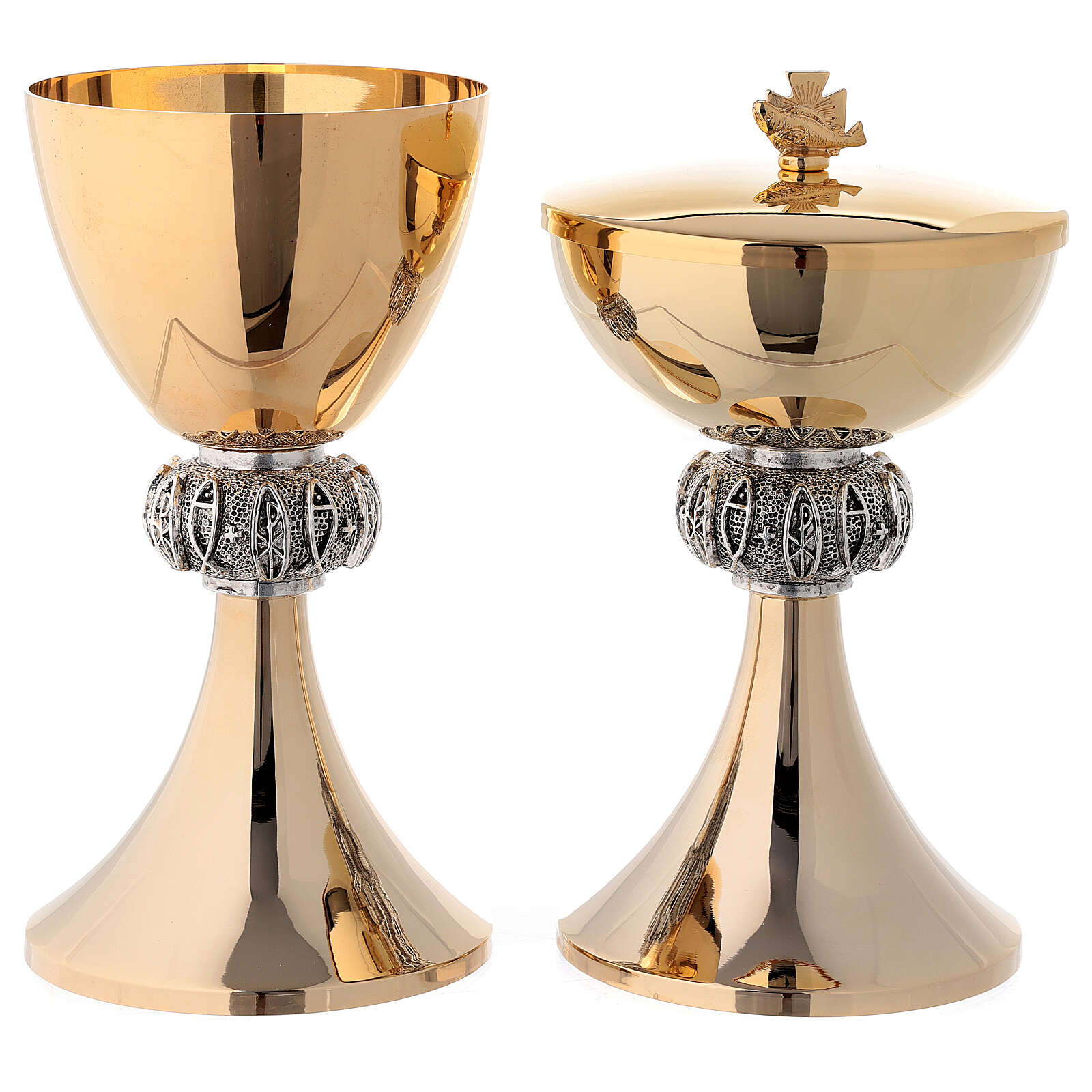 Gold plated brass chalice and ciborium node with fish and Chi-Rho 4
