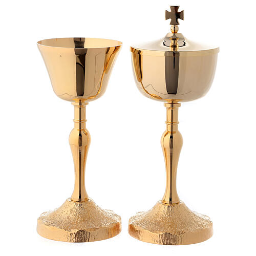 Chalice and ciborium with base and node in Medieval style 24-karat gold plated brass 1