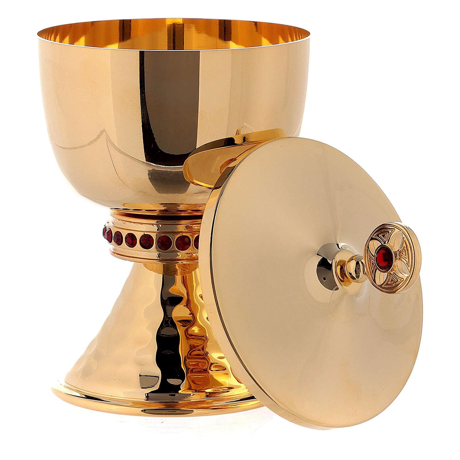 Gold plated brass chalice and ciborium with hammered base and node with red stones 4