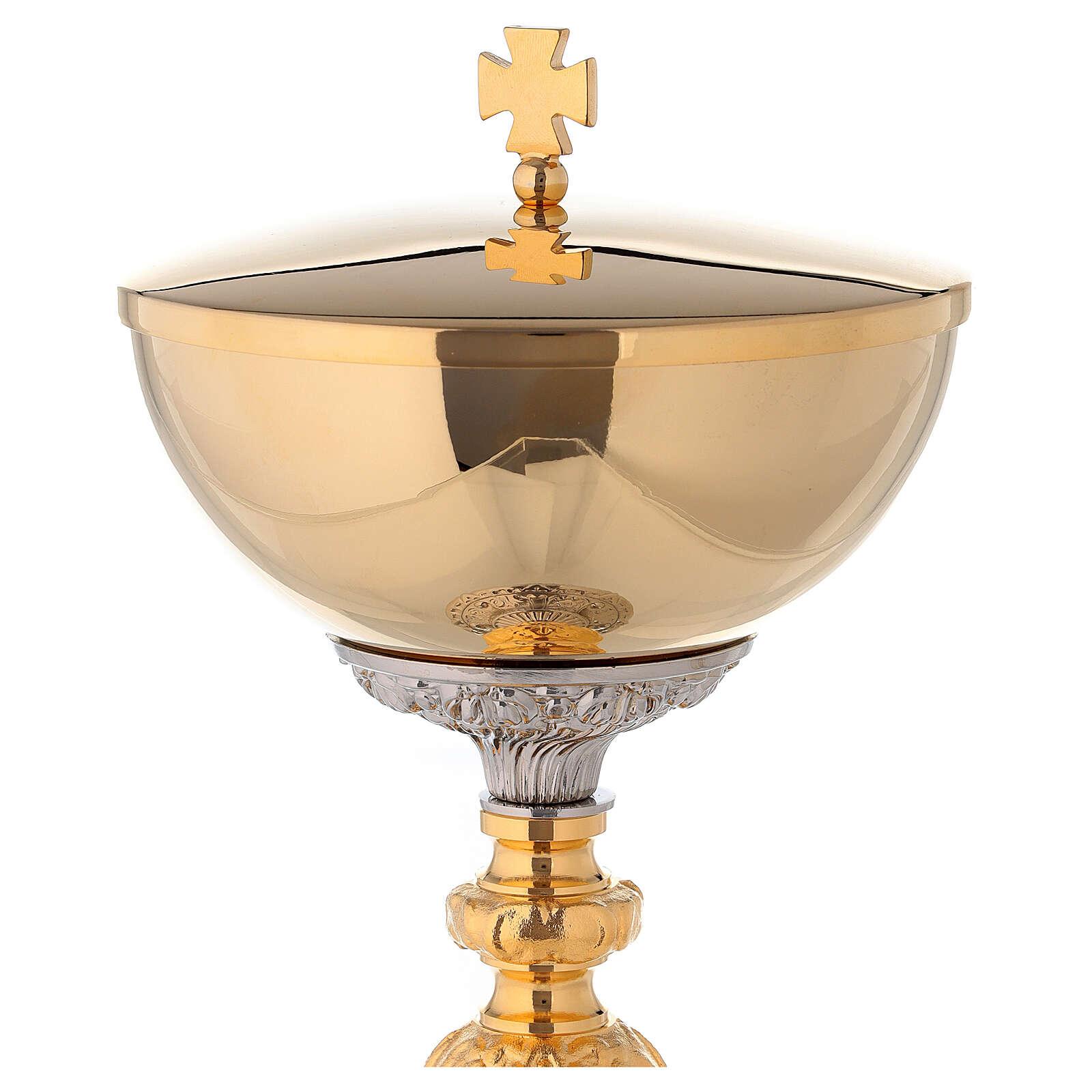 Cálice e Píxide bicolor base barroca latão dourado 24k 4