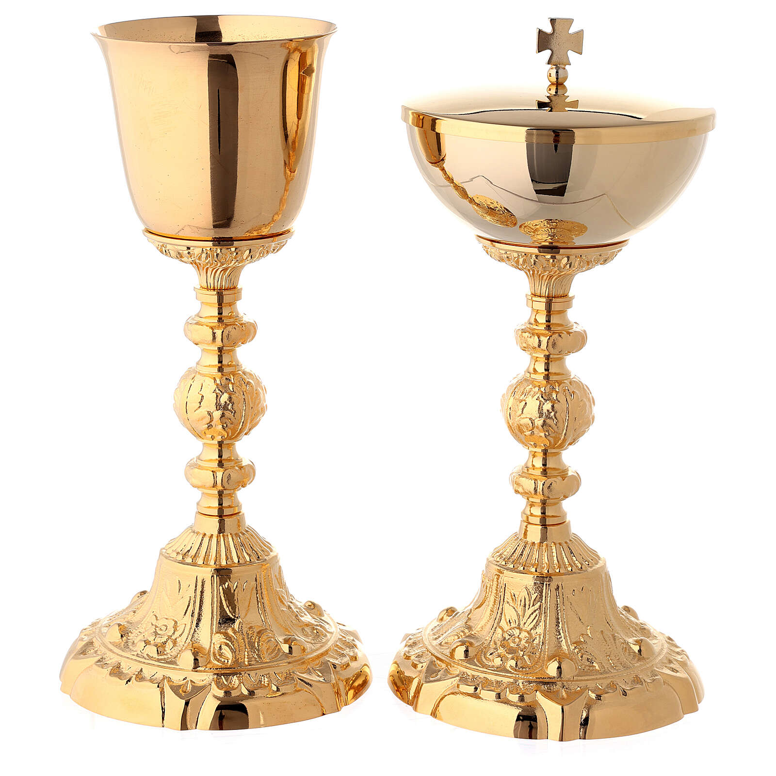 Chalice and ciborium with baroque base in 24-karat gold plated brass 4