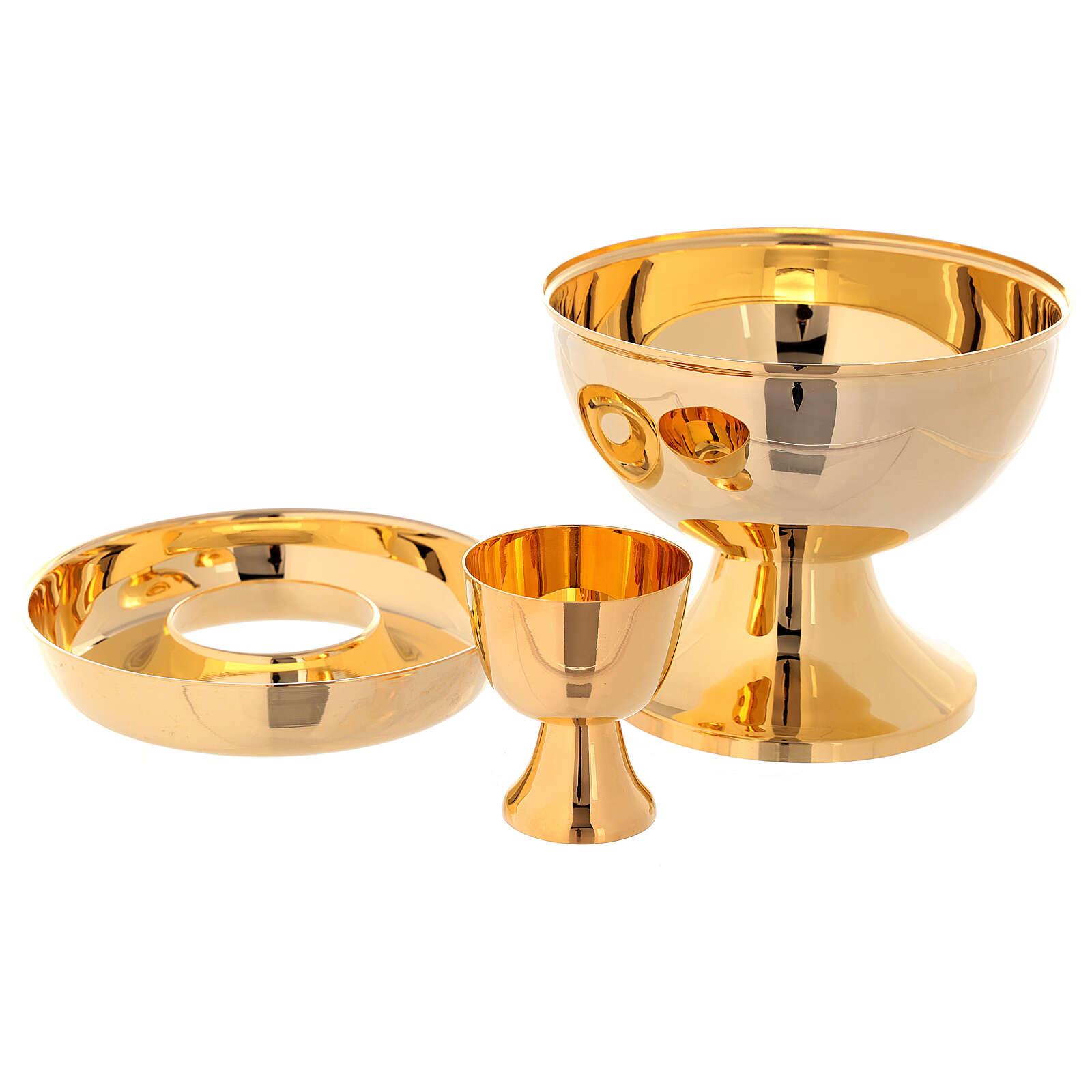 Ciborium for hosts and wine in golden brass 4