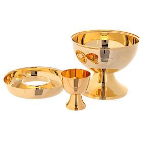 Ciborium for hosts and wine in golden brass s2