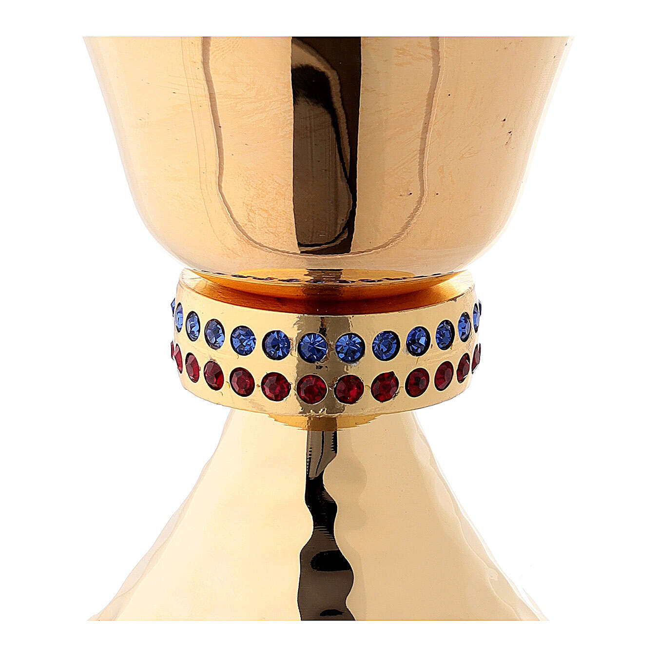 Small chalice and ciborium casted node with crystals in 24-karat gold plated brass 4