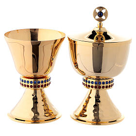 Small chalice and ciborium casted node with crystals in 24-karat gold plated brass s1