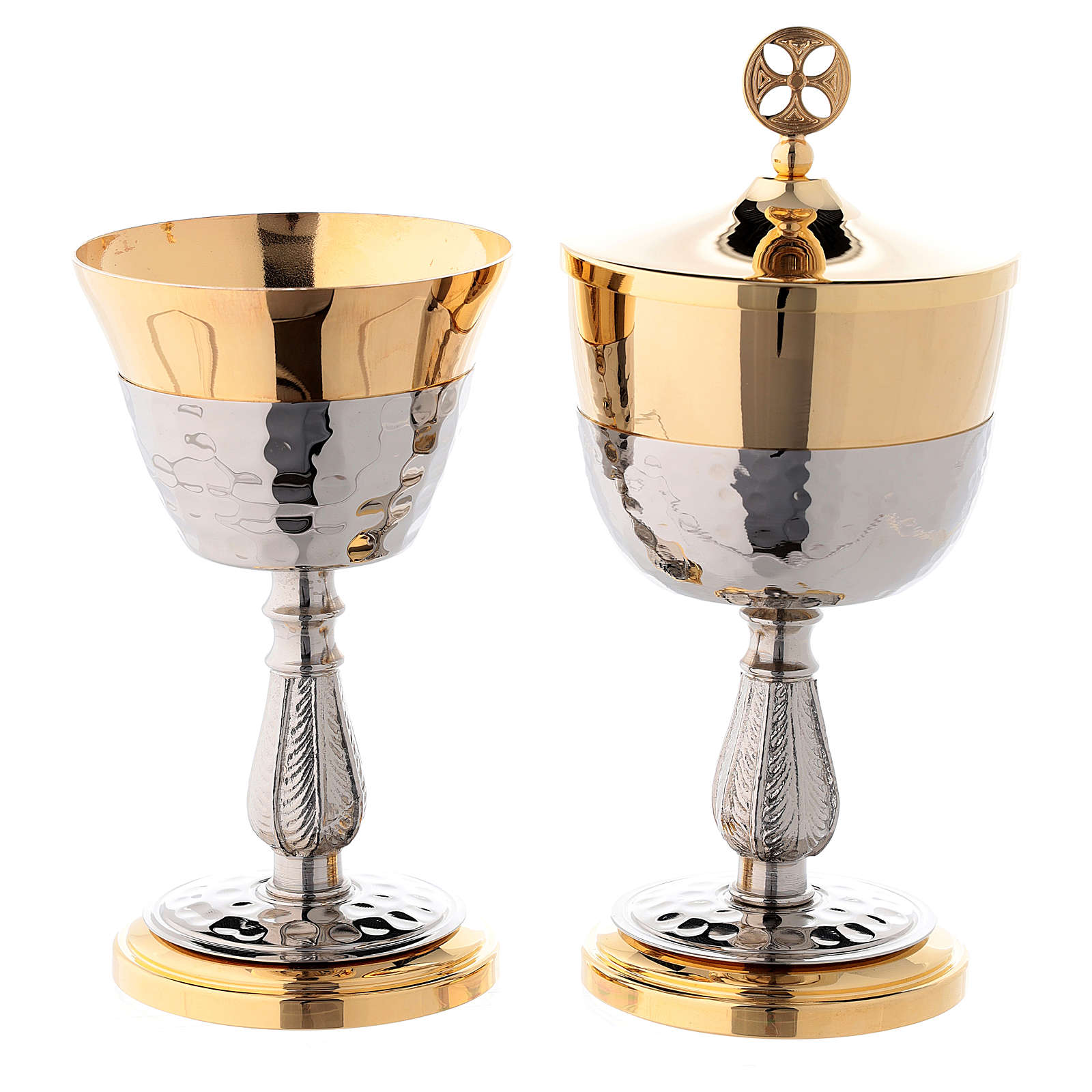 Cáliz y Copón base copa tono plata martillados latón dorado 24k 4