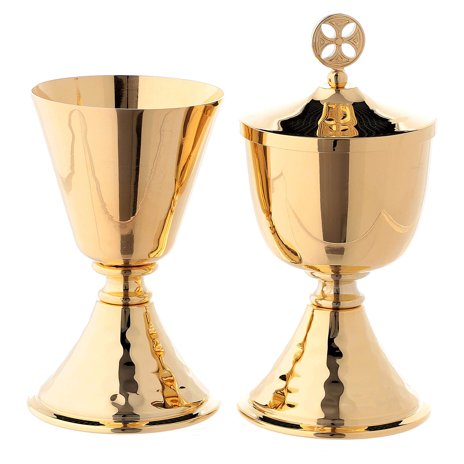 Small chalice and ciborium with simple node and hammered base in 24-karat gold plated brass 4