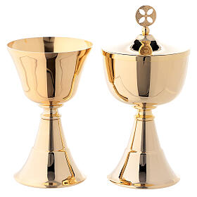 Simple chalice and ciborium for traveling 24-karat gold plated brass s1