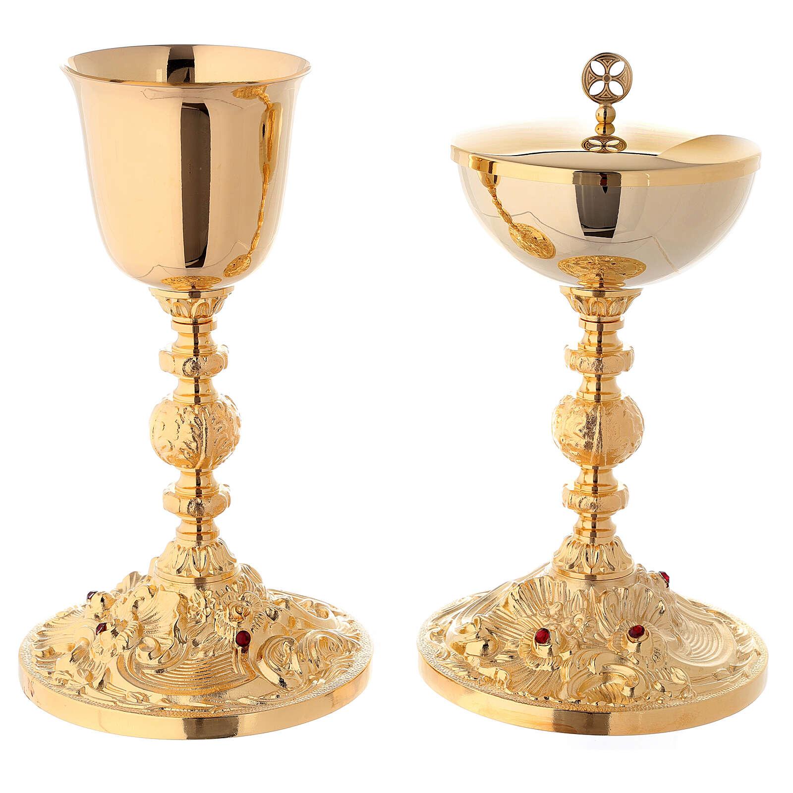 Chalice and ciborium in 24-karat gold plated brass baroque node red stones 4