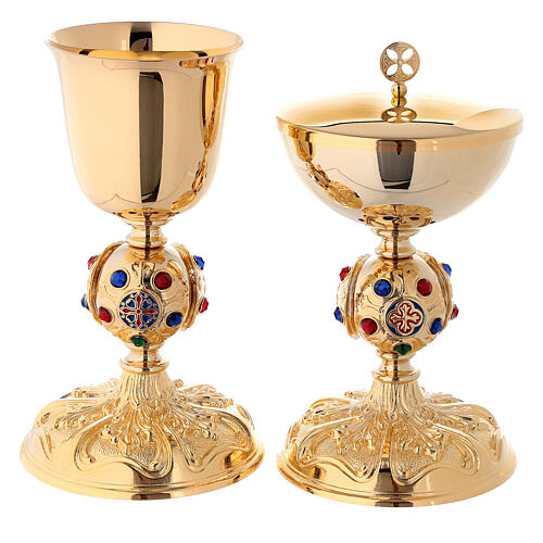 Chalice and ciborium in 24K golden brass with coloured stones 1