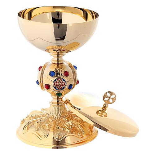 Calice e pisside nodo barocco pietre brillanti ottone dorato 24k 4