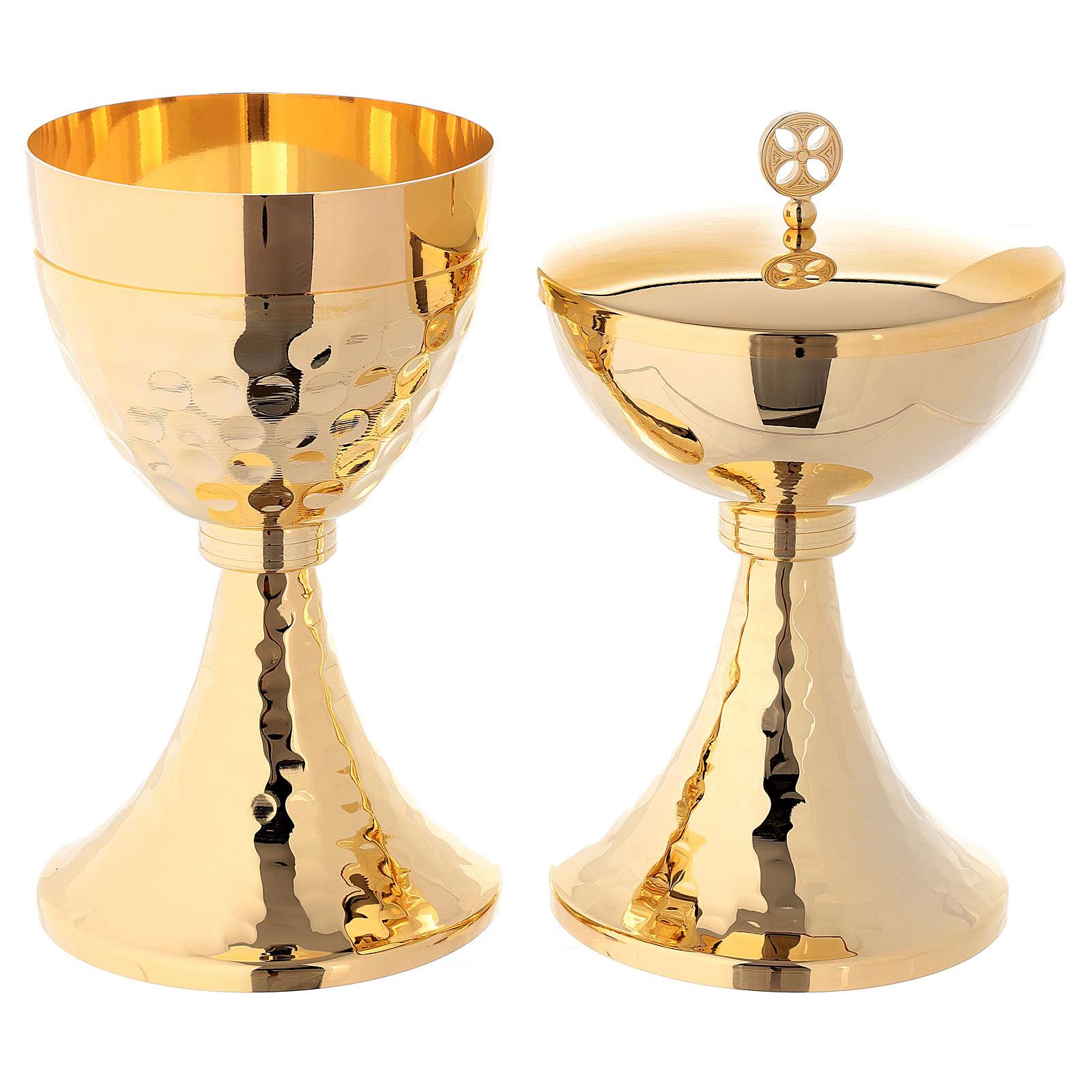 Calice e Pisside base martellata ottone dorato 24k 4
