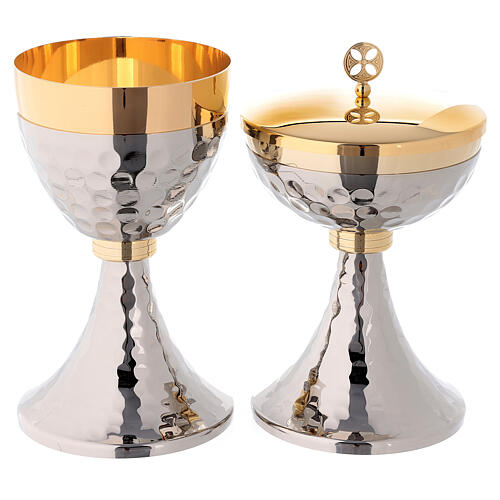 Chalice and ciborium in hammered golden and silver toned brass 1