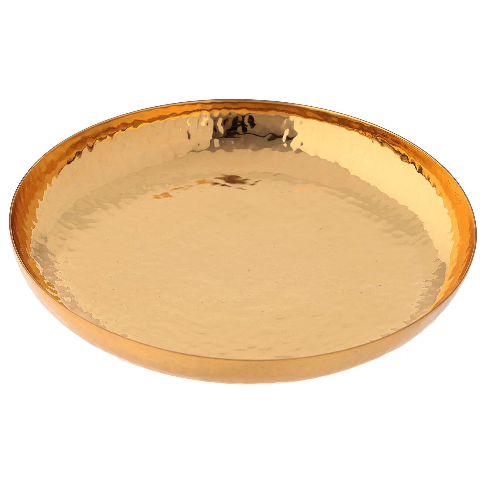 Patena ottone dorato 24 carati cesellata artigianalmente 4