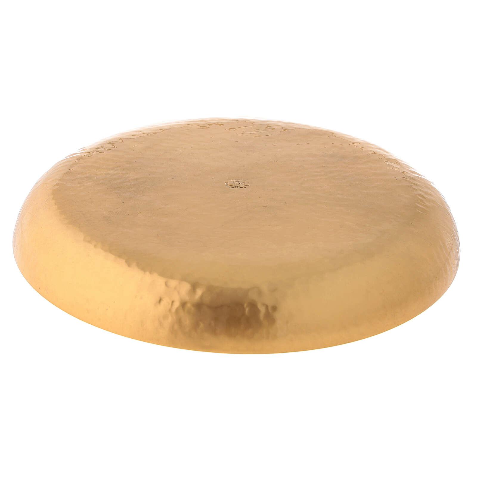 Patena latão dourado 24k cinzeladura artesanal 4