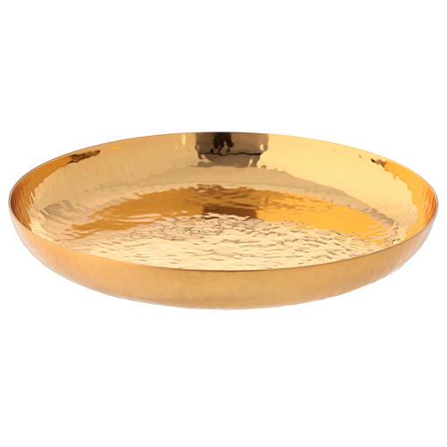 Patena latão dourado 24k cinzeladura artesanal 1