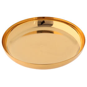 Paten in golden brass, polished, high sides 16 cm s2