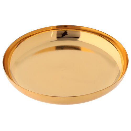 Paten in golden brass, polished, high sides 16 cm 2