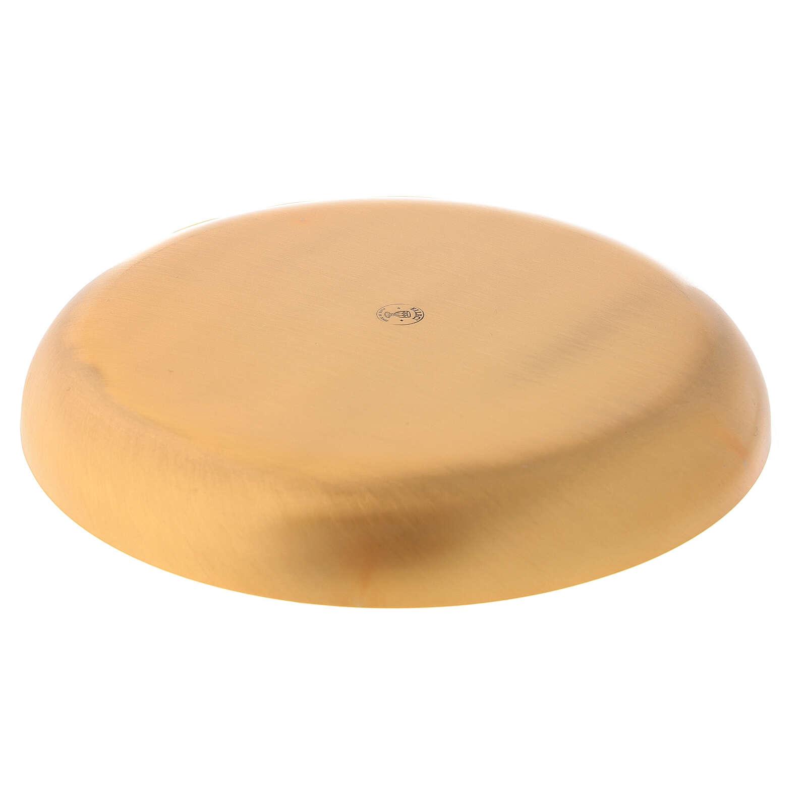 Patena ottone dorato lucido piatto fondo 16 cm 4