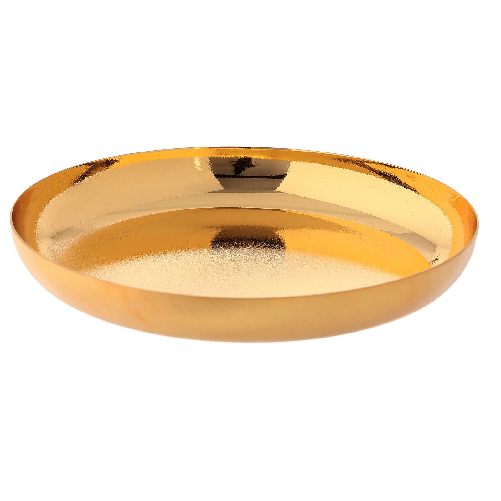 Patena latão dourado brilhante prato fundo 16 cm 4