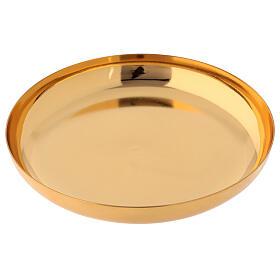 Patena latão dourado brilhante prato fundo 16 cm s2