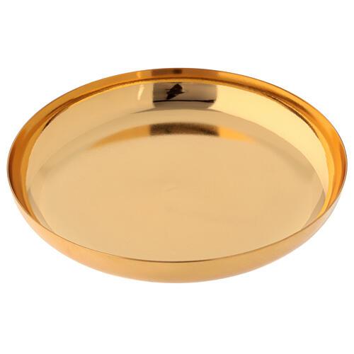 Patena latão dourado brilhante prato fundo 16 cm 2