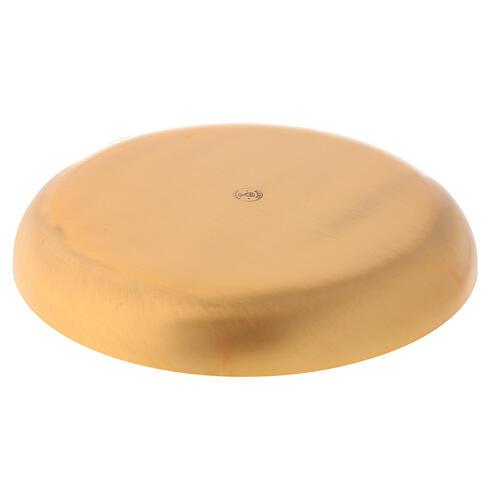 Patena latão dourado brilhante prato fundo 16 cm 3