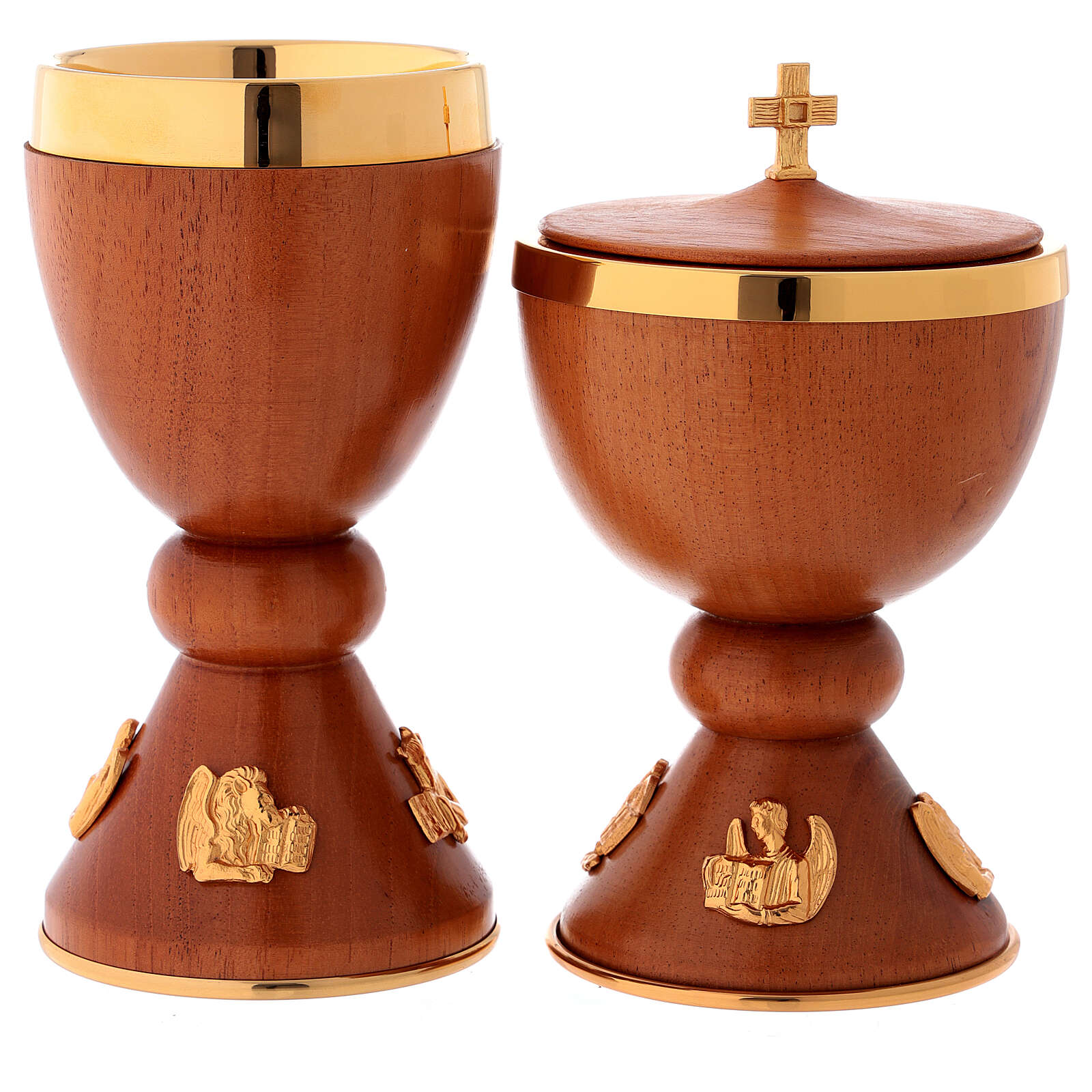 Chalice and ciborium in wood with inserts in fused golden brass 4