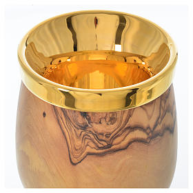 Calice en olivier d'Assise coupe céramique Deruta h 21,5 cm s3
