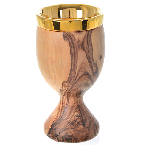 Chalice in Assisi wood with Deruta ceramic cup H19.5cm 1
