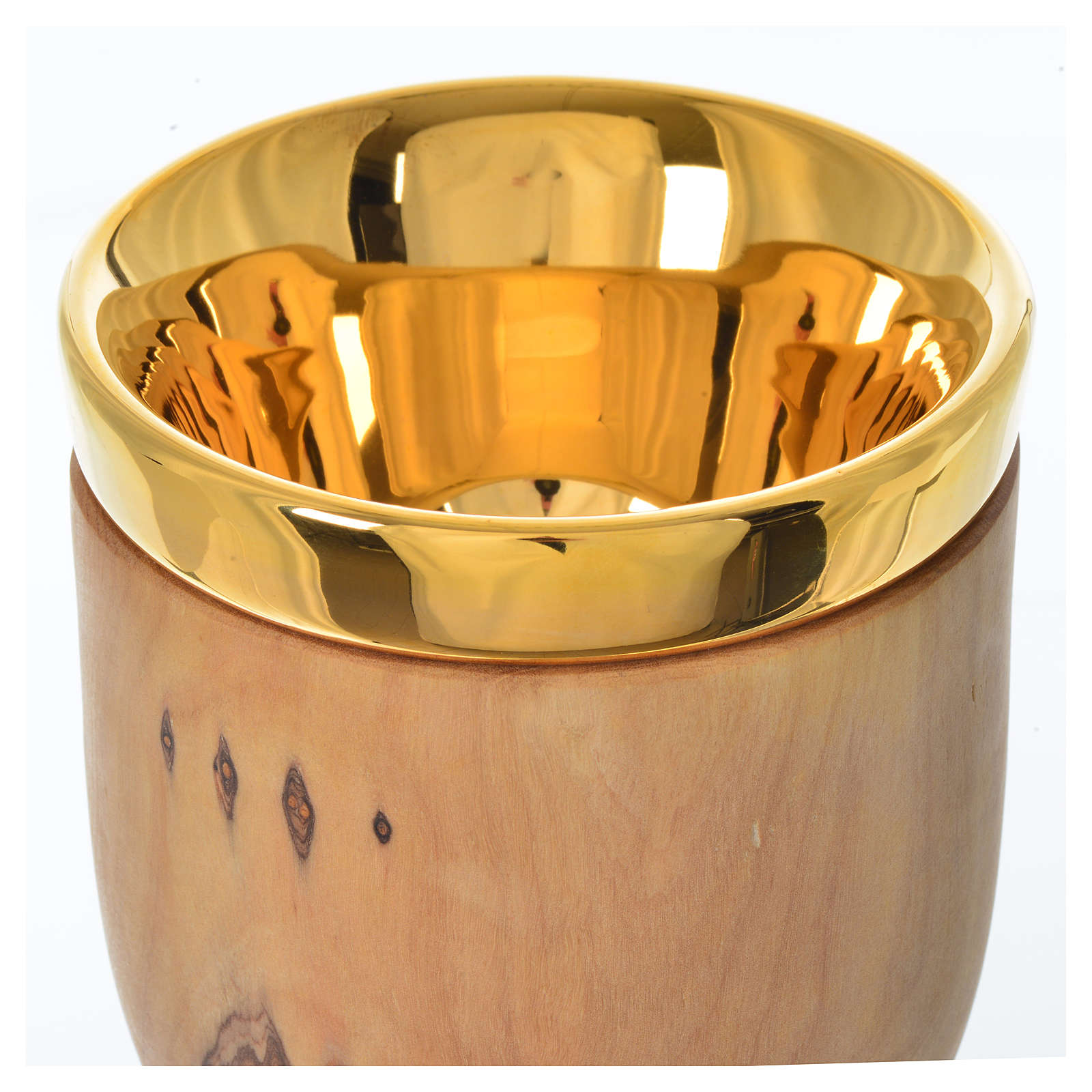 Chalice in Assisi olive wood with Deruta ceramic cup H17cm 4