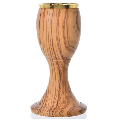 Cáliz de madera estacionada de olivo de Asís 16cm 2