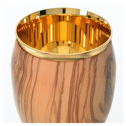 Cáliz de madera estacionada de olivo de Asís 16cm 3