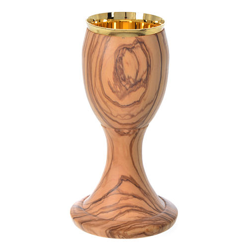 Chalice in Assisi seasoned olive wood H16cm 1