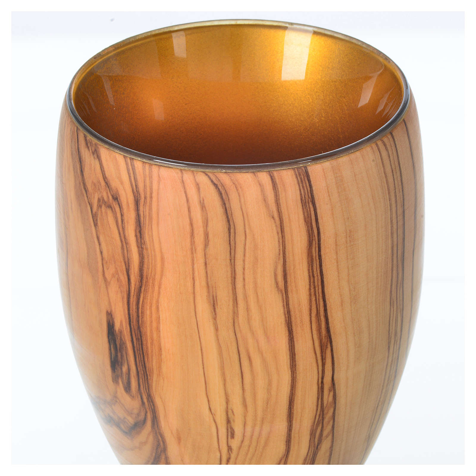 Cáliz de madera estacionada de olivo de Asís y copa de cristal 1 4