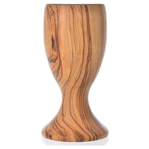 Cáliz de madera estacionada de olivo de Asís y copa de cristal 1 3