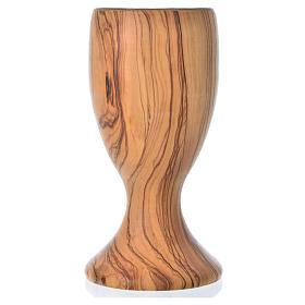Calice olivo stagionato di Assisi e coppa vetro h 18 cm s3