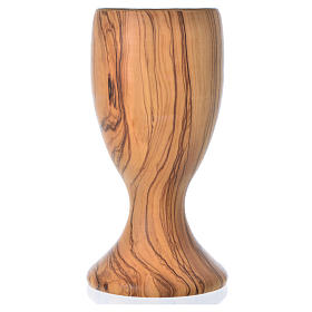 Chalice in Assisi seasoned olive wood and glass cup, H18cm s3