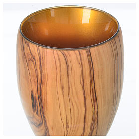 Chalice in Assisi seasoned olive wood and glass cup, H18cm s4