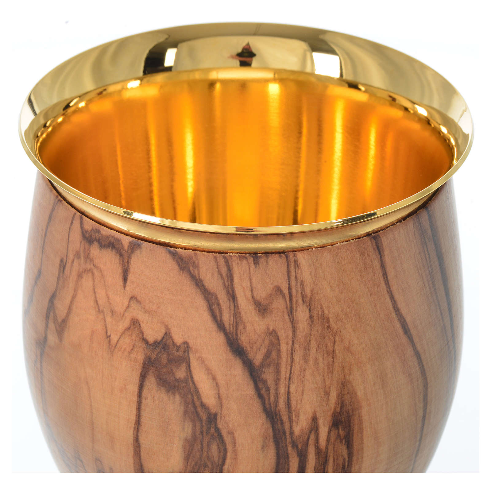 Chalice in Assisi seasoned olive wood, thin cup, 18.5cm diameter 4