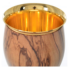 Chalice in Assisi seasoned olive wood, thin cup, 18.5cm diameter s4