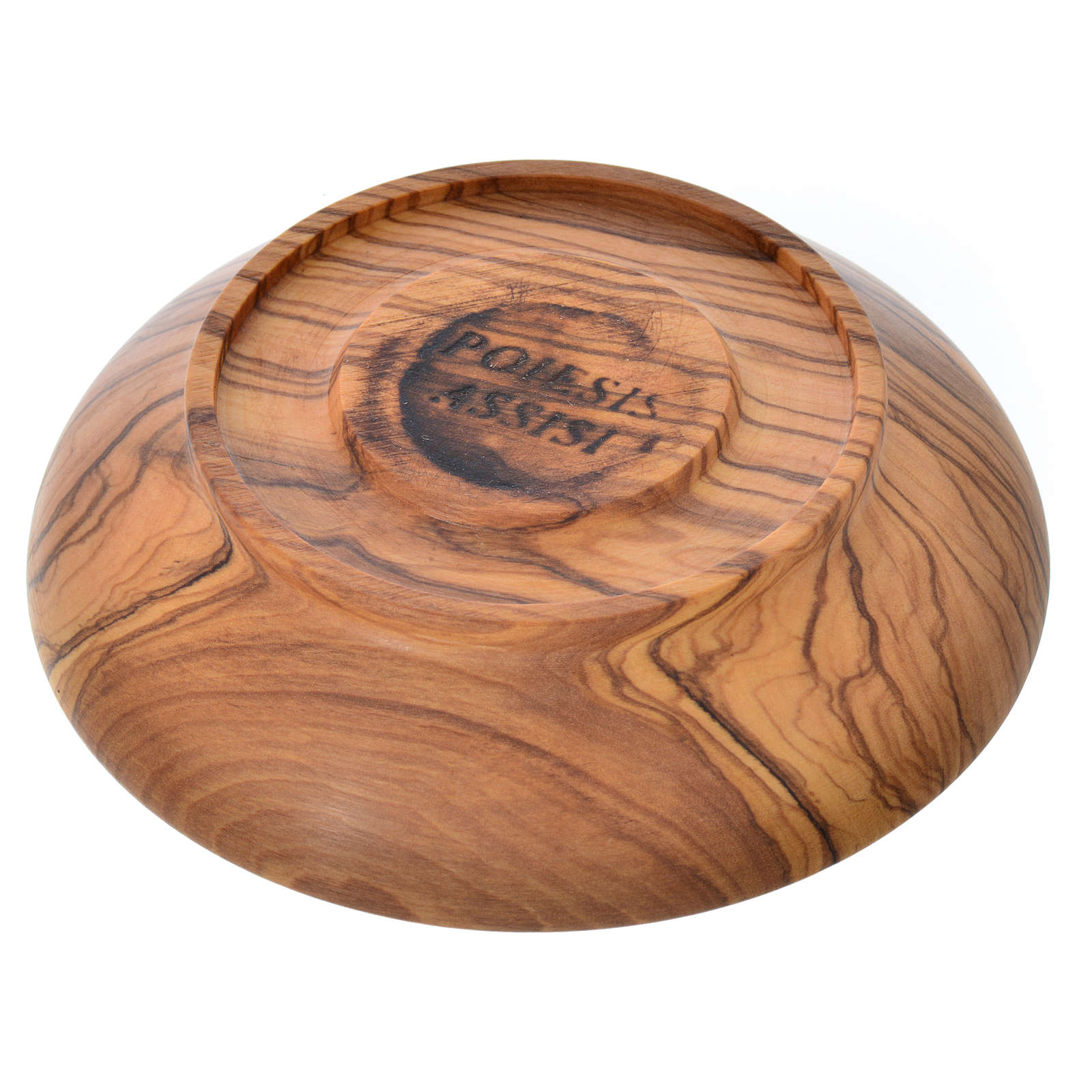 Patena de madera estacionada de olivo de Asís diámetro 10.5cm 4