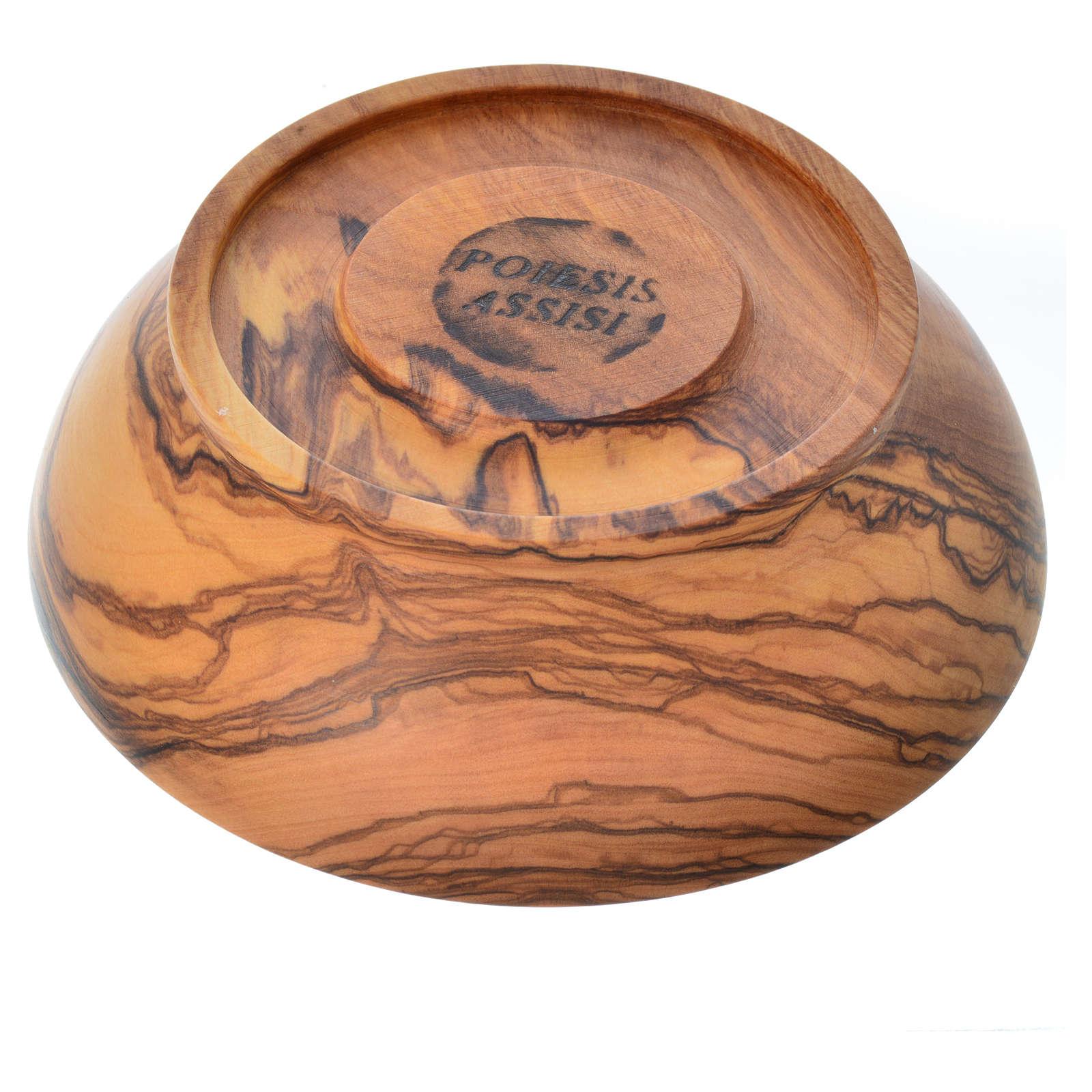 Patena de madera estacionada de olivo de Asís diámetro 13.5cm 4