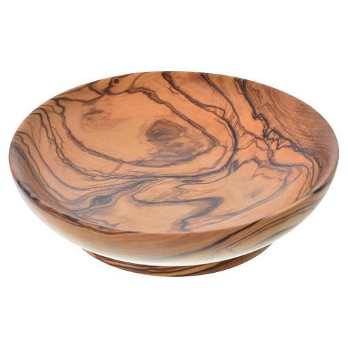 Patena de madera estacionada de olivo de Asís diámetro 14.5cm 1
