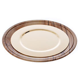 Olive wood Chalices Patens and Ciboria: Paten olive wood Holy Land