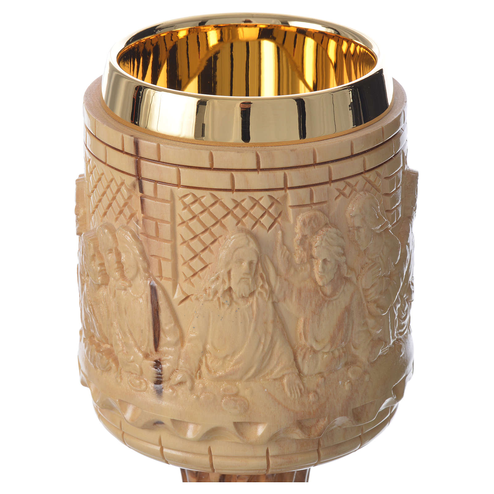 Chalice olive wood Holy Land Last Supper engraving 4