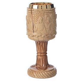 Cáliz de madera de olivo tallado Tierra Santa Última Cena s1
