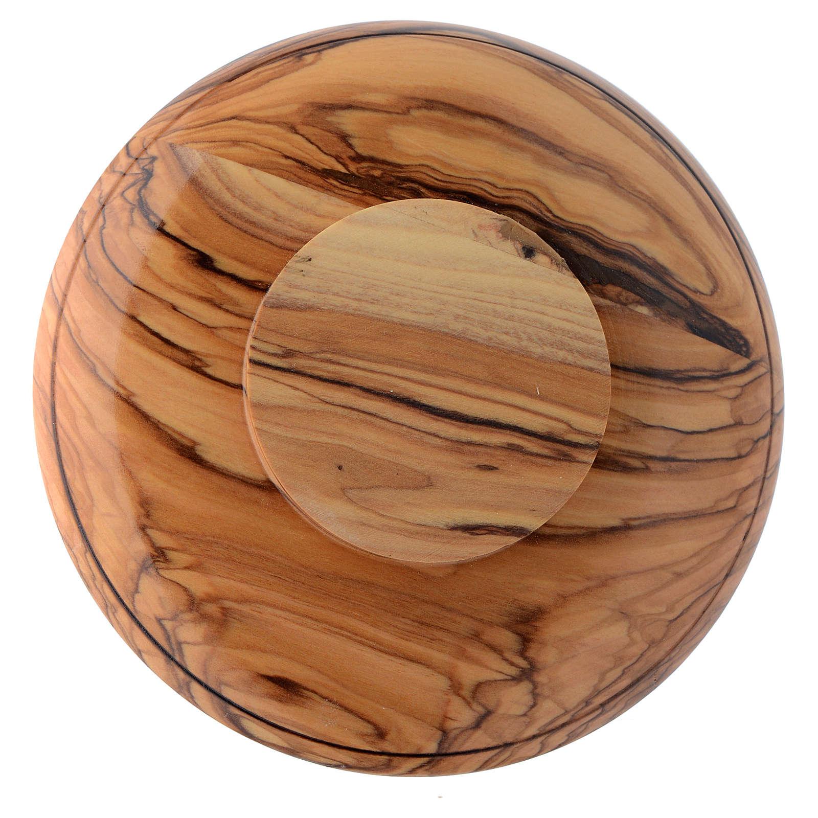Patena platillo madera olivo Tierra Santa y latón 4